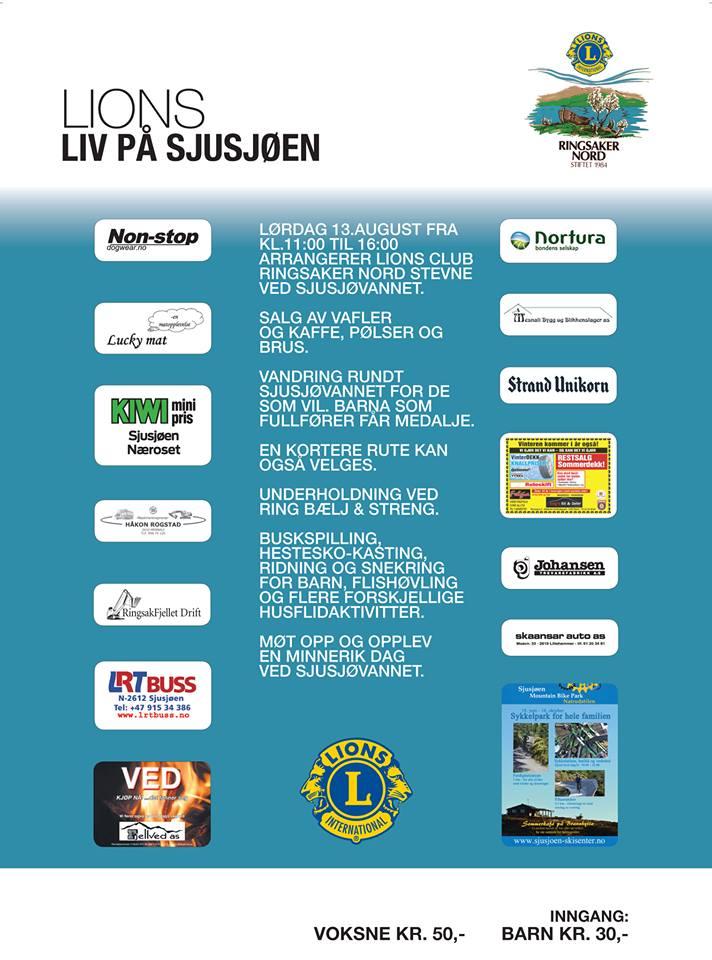 Lions Ringsaker nord inviterer til Liv på Sjusjøen lørdag 13.august 2016