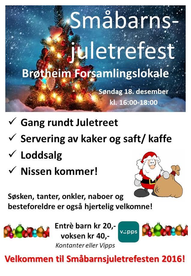 Velkommen til småbarnsjuletrefest på Brøttum